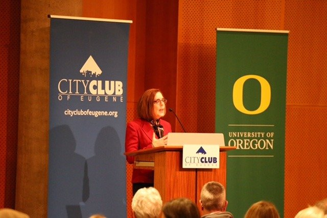 Governor Kate Brown Speaks in Eugene