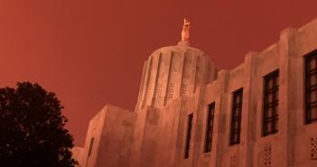 wildfires turn the sky orange with smoke